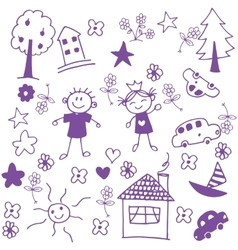 Happy child doodle art vector