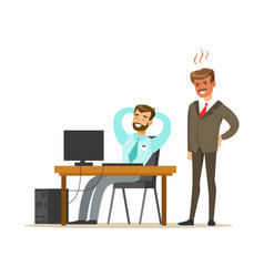 Angry boss yelling at employee colorful cartoon vector