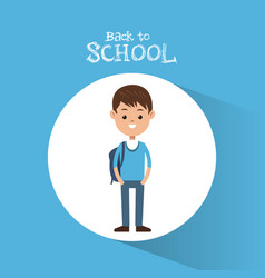 back to school student boy blue sweater backpack vector image vector image