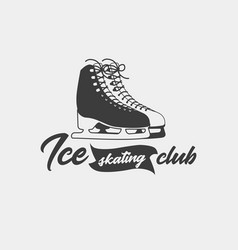 badge template for ice skating club vector image vector image