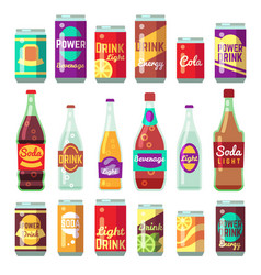 Beverage soft and energy drinks flat icons vector