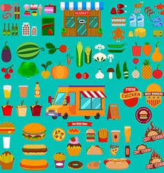 Big set of food icons Food truck Market vector image vector image