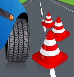 Car and traffic cone vector image vector image
