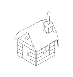 Christmas house icon outline style vector image