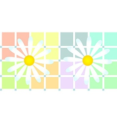 Daisies over soft pastel plaid vector image