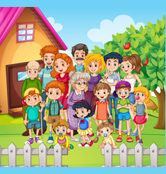 Family members standing in the yard vector