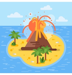 Flat style of volcano on tropical island vector