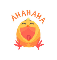 funny laughing cartoon comic chicken with phrase vector image vector image