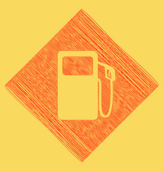 Gas pump sign red scribble icon obtained vector