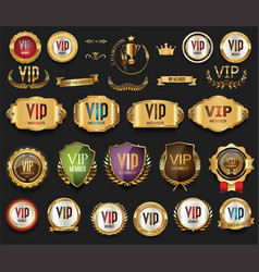 golden vip labels and badges collection vector image