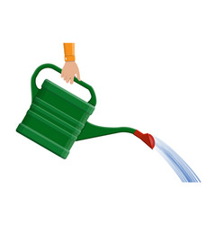 Hand with green plastic watering can vector