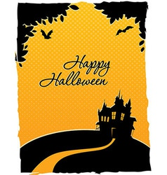 Happy halloween card with castle vector image