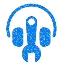 Headphones tuning wrench grainy texture icon vector
