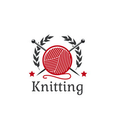knitting icon wool yarn clew needles vector image vector image