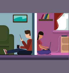 man and woman sitting on floor at home chatting vector image