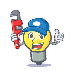 plumber light bulb character cartoon vector image vector image