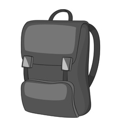 School backpack icon gray monochrome style vector