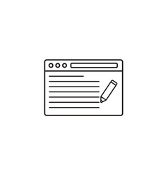 Seo copywriting icon browser with pen vector
