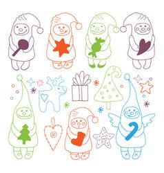 set of christmas gnome icons vector image
