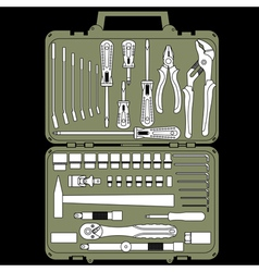 set of different tools in a box vector image