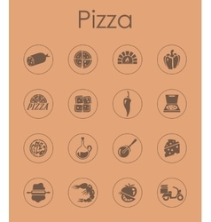 Set of pizza simple icons vector