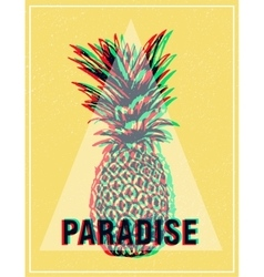 Summer tropical T-shirt graphics print pineapple vector image