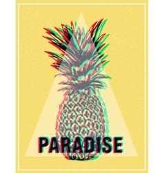 Summer tropical t-shirt graphics print pineapple vector