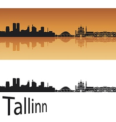 Tallinn skyline in orange background vector image vector image