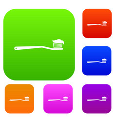 Toothbrush set collection vector