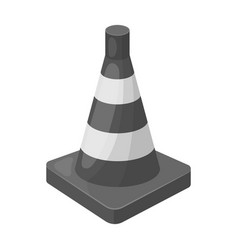 Traffic cone icon in monochrome style isolated on vector