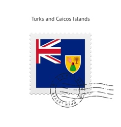 Turks and Caicos Islands Flag Postage Stamp vector image vector image