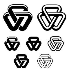 Unity triangle black white symbols vector