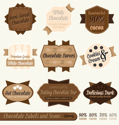 Vintage Chocolate Labels and Icons vector image vector image