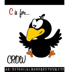 Vocabulary worksheet card with cartoon crow vector