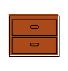 wooden drawer isolated icon vector image vector image