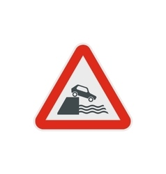 Riverbank traffic sign icon flat style vector