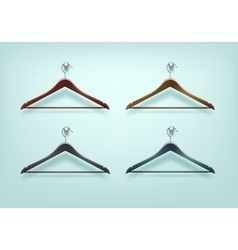 Set of clothes wooden plastic black brown hangers vector