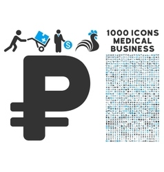 Rouble icon with 1000 medical business pictograms vector