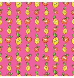 Fruits Seamless Background with Funny Oranges vector image