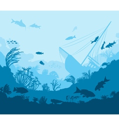 Coral reef and sea creatures vector