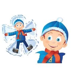 Boy making snow angel vector