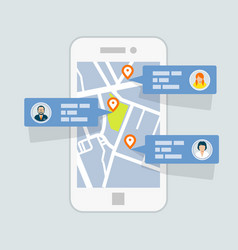 Location check-in on map - mobile gps navigation vector