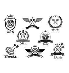 Darts sport club awards emblems or icons vector