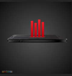 smartphone with red chart on black background vector image