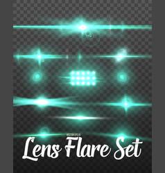 Realistic lens flare set vector