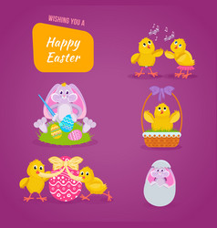 Lovely chickens have fun celebrate in easter vector