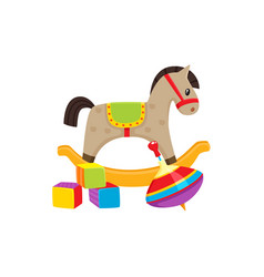 Toys cubics rocking horse whirligig toy vector