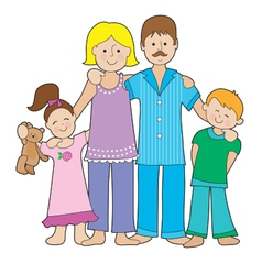 Family in pajamas vector