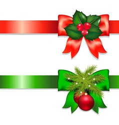 Xmas ribbons with holly berry and ball vector