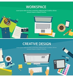 Workspace and creative design banner template vector
